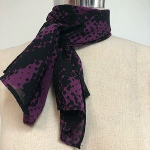 Purple and black patterned silk scarf